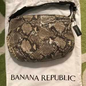 Banana Republic Leather Snakeskin Hobo Purse NWT